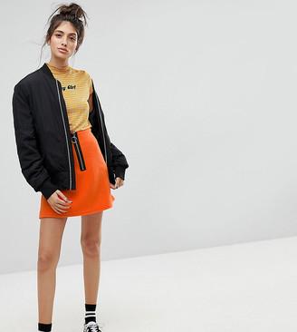 Reclaimed Vintage Inspired Contrast Zip Mini Skirt-Orange