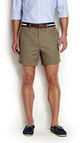 "Classic Men's No Iron 6"" Plain Front Comfort Waist Chino Shorts-Light Stone"