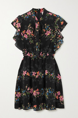 RED Valentino Ruffled Floral-print Silk Crepe De Chine Mini Dress - Black