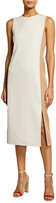 Akris Double-Face Bicolor Sleeveless Sheath Dress