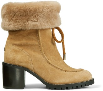 Jimmy Choo BUFFY 65 Honey Crosta Suede Hiker Boots with Shearling Lining