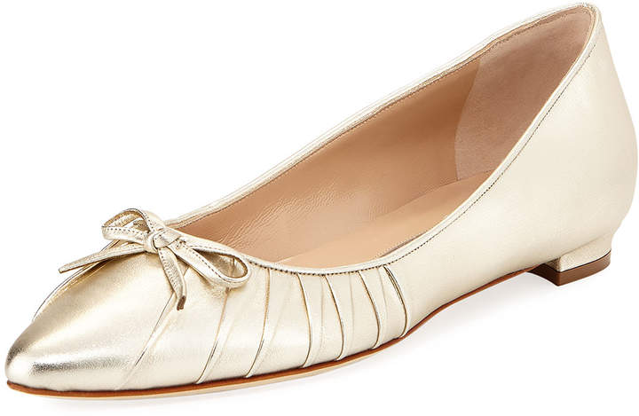 Manolo Blahnik Pleata Point-Toe Ballerina Flat