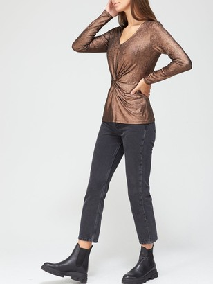 Very Metallic Twist Front V-Neck Top - Bronze