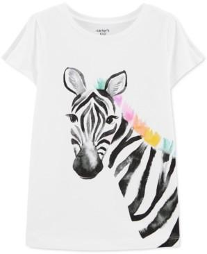 Carter's Little & Big Girls Zebra-Print Split-Sleeve Cotton T-Shirt