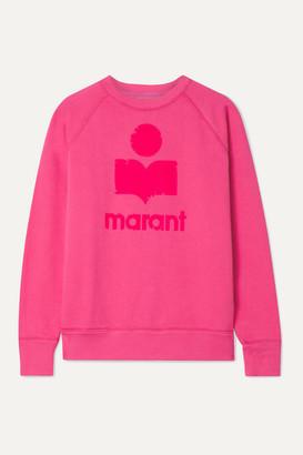 Etoile Isabel Marant Milly Flocked Cotton-blend Jersey Sweatshirt - Fuchsia