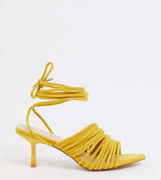 Z Code Z Z_Code_Z Exclusive Lada vegan strappy sandals with mid heel in yellow