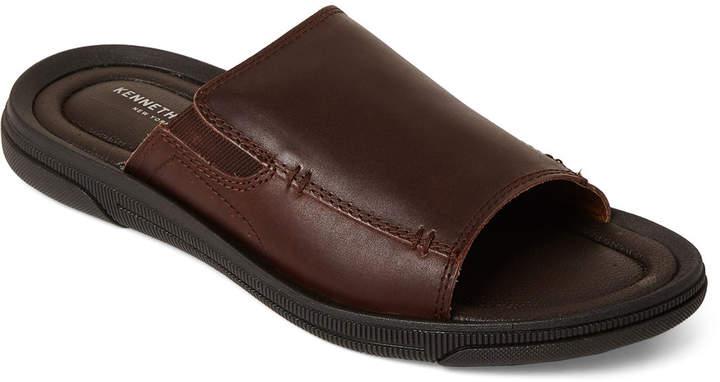 Kenneth Cole Brown Yard Leather Slide Sandals