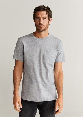 MANGO MAN - Pocket cotton T-shirt medium heather grey - S - Men