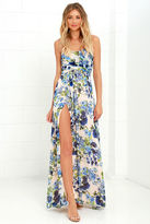 LuLu*s Sweet Symphony Blue Floral Print Strapless Maxi Dress