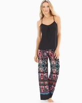 Soma Intimates Meander Pajama Pants Set Sapphire Red Multi