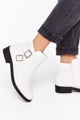 Nasty Gal Womens A Low It Buckle Ankle Boots - White