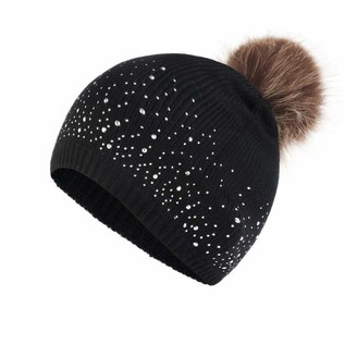 Women Beanie Hat Pure Colour With Rhinestone Point Knitted Cap Slouchy Soft Chunky Hat With Faux Fur Pom Pom TOPEREUR