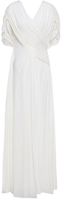 Lanvin Draped Ruched Cady Gown