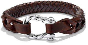 David Yurman Men's Maritime Sterling Silver Woven Leather Bracelet