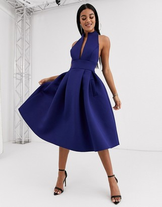 ASOS DESIGN high neck plunge midi prom dress with strappy back detail in navy
