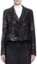 Donna Karan Metallic Brocade Short Jacket w/ Belt