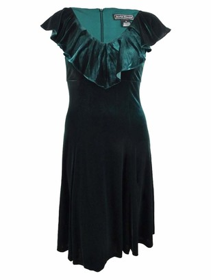 Jessica Howard Women's Sleeveless V-Neck Flounce Collar Empire Waist Velvet Dress