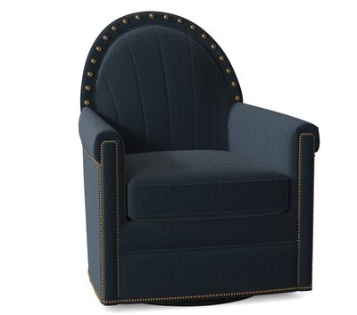 """Thumbnail for your product : Bradington-Young Battier 31"""" Wide Swivel Armchair Body Fabric: Aberdeen Platinum, Nailhead Detail: #9 & #52 French Natural"""