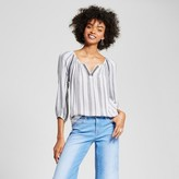 R+J Couture Women's V-Neck Striped Blouse