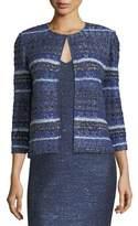 St. John Eva Tweed Striped 3/4-Sleeve Jacket