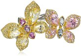 Kenneth Jay Lane CZ by Trend Cubic Zirconia Pastel Double-Butterfly Ring, Size 7