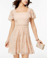 B. Darlin Juniors' Lace Flutter-Sleeved Fit & Flare Dress