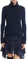 Veronica Beard Asa Ribbed Cashmere Turtleneck Sweater, Navy