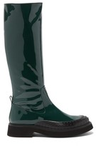 Tod's Gommini Knee-high Leather Boots - Womens - Dark Green