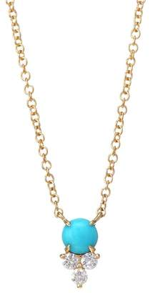 Ef Collection 14K Yellow Gold, Trio Diamond & Turquoise Pendant Necklace