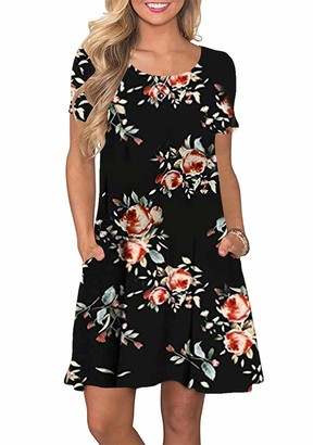 YMING Women Short Sleeve Pockets Dress Round Neck T-Shirt Mini Dress Swing Dress Casual Tunic Dress Loose Fit Dress Black Dress M