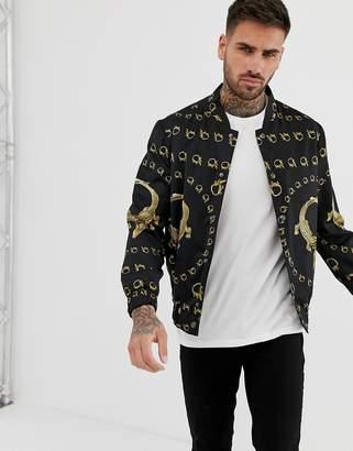 Hermano bomber jacket with crocodile print-Black