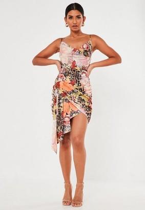 Missguided Peach Floral Animal Print Satin Drape Mini Dress