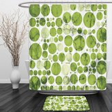 Vipsung Shower Curtain And Ground MatPolka Dots Decor Collection Nature Inspired Large Polka Dots Spirals Stripes Artful Illustration Green WhiteShower Curtain Set with Bath Mats Rugs