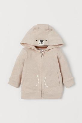 H&M Appliqued Hooded Jacket - Beige