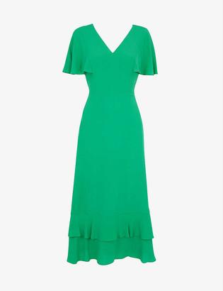 Whistles Cathy frilled-hem crepe maxi dress