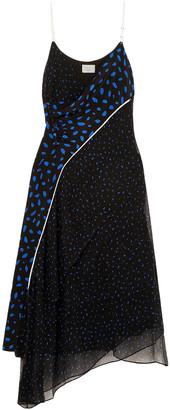 Grey Jason Wu Asymmetric Printed Silk-georgette Midi Dress