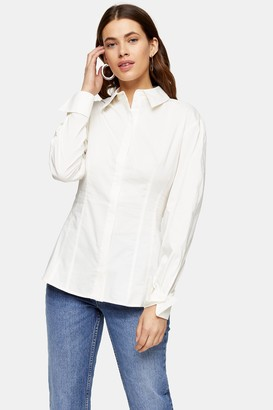 Topshop Womens White Plain Poplin Corset Shirt - White