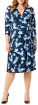 Mynt 1792 Plus Size Women's Print Jersey Midi Length Wrap Dress