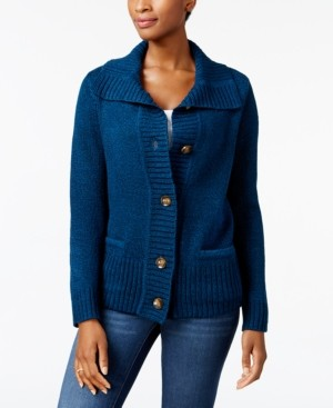 Karen Scott Button-Front Shawl-Collar Cardigan, Created for Macy's