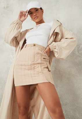 Missguided Petite Cream Quilted Skirt