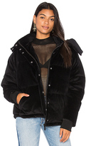 KENDALL + KYLIE Velour Puffer Jacket in Black. - size M (also in S,XS)