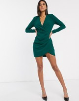 Asos Design DESIGN long sleeve pleat front wrap mini dress