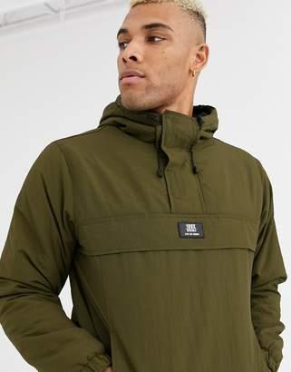 Bershka overhead jacket with fleece lining in khaki-Green