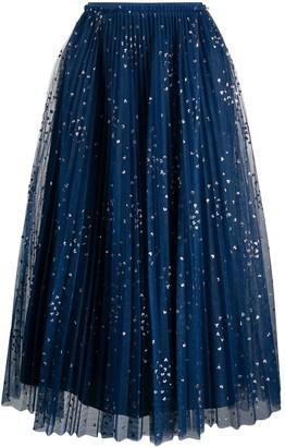 RED Valentino Glitter Detail Pleated Skirt