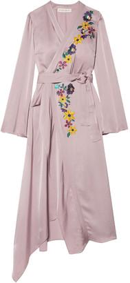 Etro Wrap-effect Embellished Hammered-satin Midi Dress