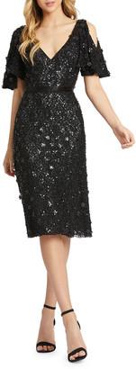 Mac Duggal Floral Sequin Cold-Shoulder Knee-Length Dress