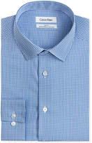 Calvin Klein Steel Men's Slim-Fit Non-Iron Performance Blue Check Dress Shirt