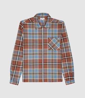 Reiss Castle - Check Cotton Zip Through Jacket in Blue