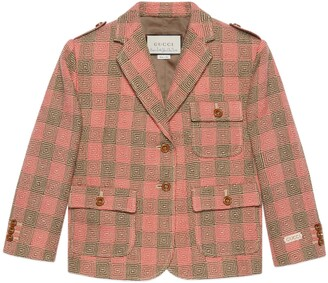 Gucci Petit optical damier wool jacket