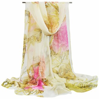 heekpek Wrap Scarf Shawl Stole Head Band Floral Print Lightweight Silk Feeling